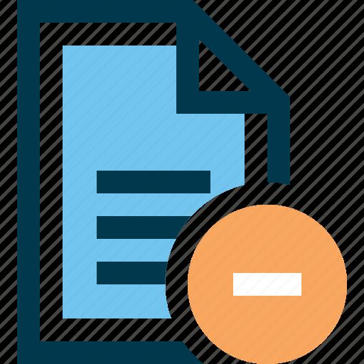 delete, document, file, minus, remove icon