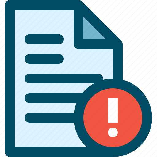 alert, attantion, document, file icon