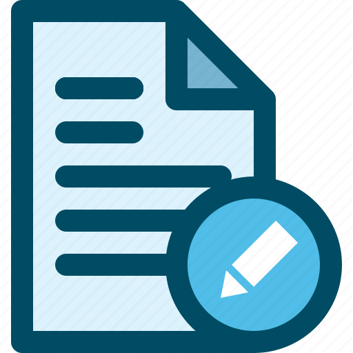 document, edit, file, pencil icon