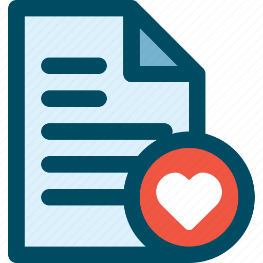document, favorite, file, heart, like, love icon