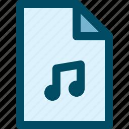 audio, document, file, media, music icon