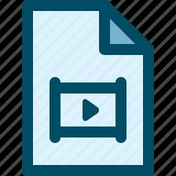 document, file, film, media, movie, video icon