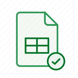accept, document, excel, file, office, spreadsheet icon
