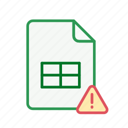 alert, document, excel, exclamation, file, office, spreadsheet icon