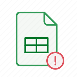 document, excel, exclamation, file, office, page, spreadsheet icon