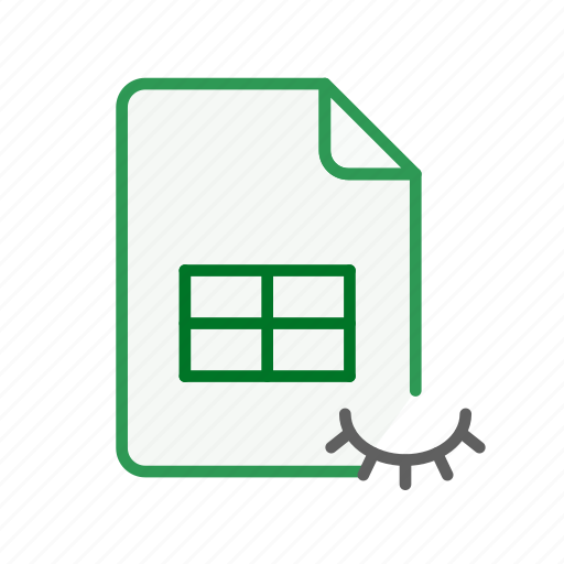 document, excel, file, hidden, office, spreadsheet icon