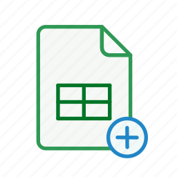 add, document, excel, file, office, page, spreadsheet icon
