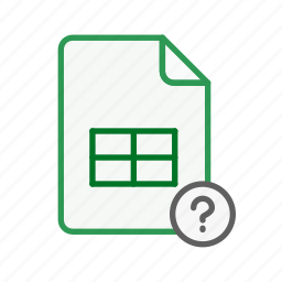 data, document, excel, file, question, sheet, spreadsheet icon