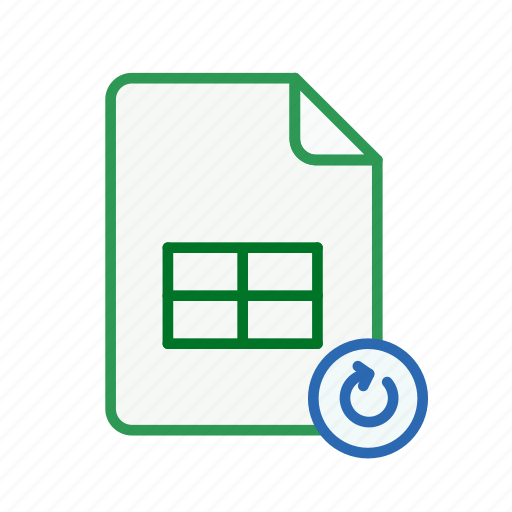 document, excel, file, office, refresh, spreadsheet icon