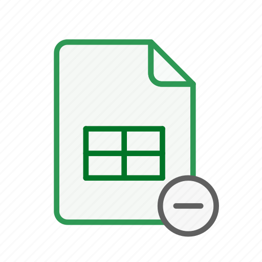document, excel, file, office, remove, spreadsheet icon