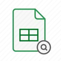 document, excel, file, find, office, search, spreadsheet icon