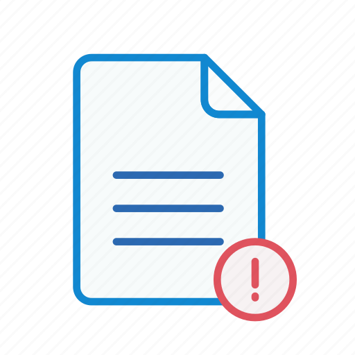 document, exclamation, file, office, page, text icon