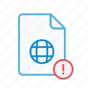 exclamation, file, internet, page, type, web, webpage icon