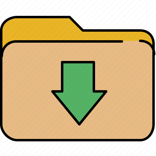 arrow, down, file, folder, interface, move icon