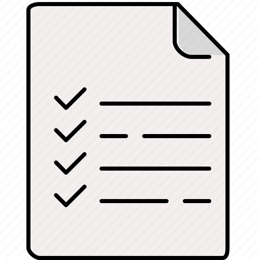 checklist, document, file, interface, lines icon