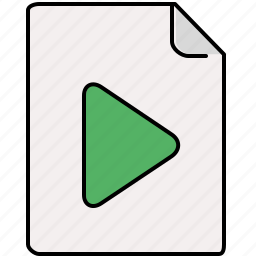 document, file, interface, play, pointer icon