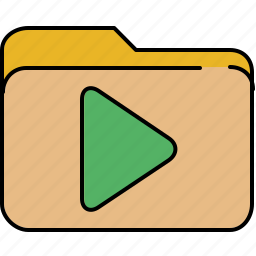 arrow, folder, interface, play icon