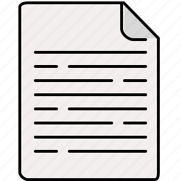 document, file, interface, lines, text icon