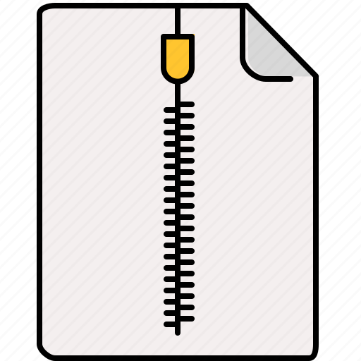 document, file, interface, zipped icon