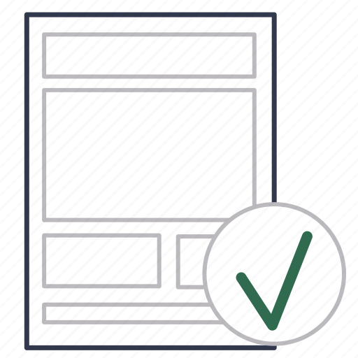 business, certified, checked, description, document, format, regulation icon