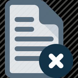 cross, delete, document, file, remove icon