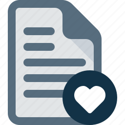 document, favorite, file, heart, like icon