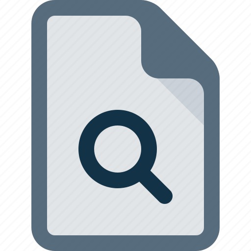 document, file, magnifier, search, zoom icon