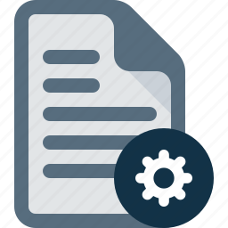 document, file, gear, settings, text icon