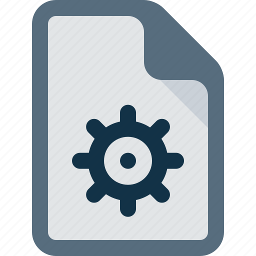 document, file, gear, settings icon