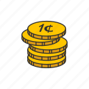 cents, coin, one cent, pennies icon