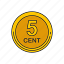cent, coin, five coin, nickle icon
