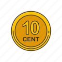 cent, coin, money, ten cent icon
