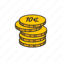 cents, coins, dime, ten cents icon