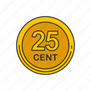 cent, coin, quarter, twenty five cents icon