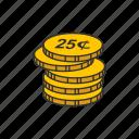 cents, coins, twenty five cents, quarter