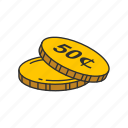 cents, coins, fifty, fifty cents icon