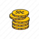 cents, coin, fifty, fifty cents icon