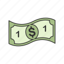 bill, one dollar, cash, one dollar bill icon