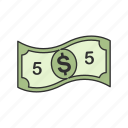 cash, dollar, five, five dollars icon