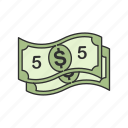 bill, cash, five, five dollars icon