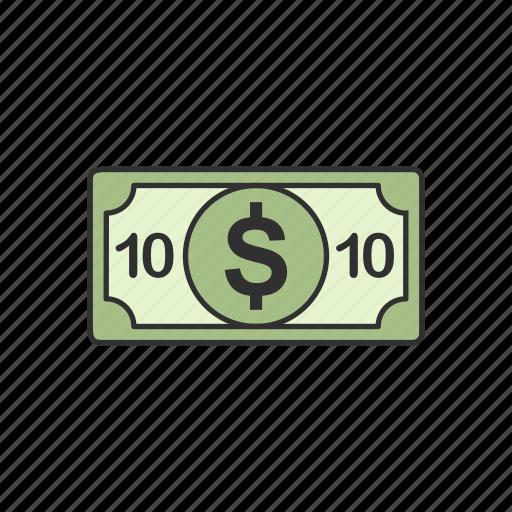 cash, dollars, ten, ten dollars icon