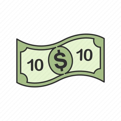 bill, cash, dollar, ten dollars icon