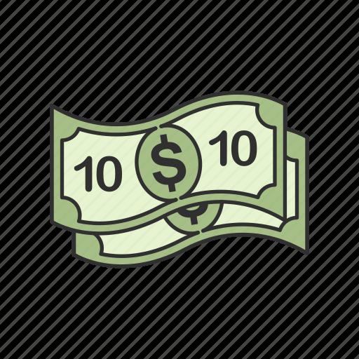 bill, cash, dollars, ten dollars icon