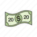 bill, cash, dollar, twenty dollars icon
