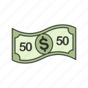 bill, dollars, fifty, fifty dollar bill, fifty dollars icon