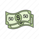 cash, dollar, fifty dollar, fifty dollar bill icon