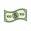 cash, dollar, one hundred, one hundred dollars icon