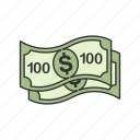 cash, dollars, one hundred, one hundred dollars icon