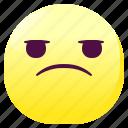 annoyed, emoji, emoticon, smileys, suspicious icon