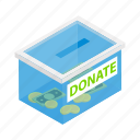 box, charity, donate, donation, gift, help, isometric icon